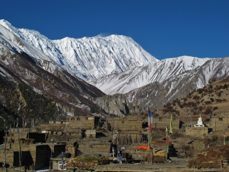 snow capped: Old houses of Khangsar and snow capped Tilicho Peak