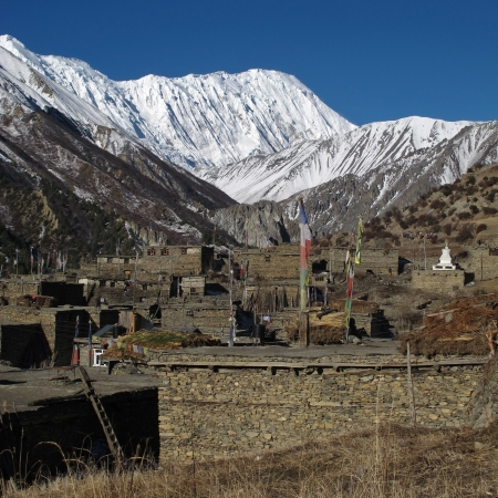 Village Khangsar and Tilicho Peak, Nepal photo