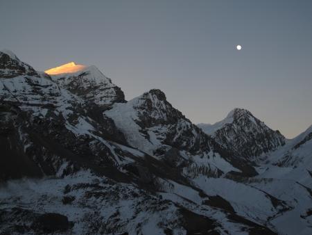 Purbung Himal at sunset