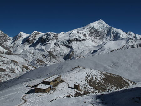 Beautiful view from Thorung La Pass, Nepal photo