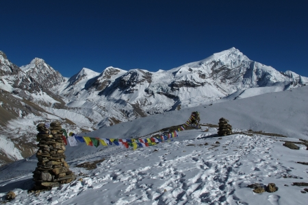 Prayer flags in the Himalayas, Chulu West photo