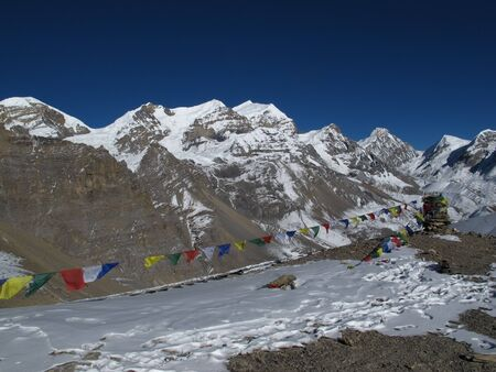 destination scenics: Prayer Flags and high mountains, Annapurna Conservation Area, Nepal