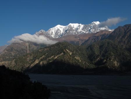 kali: Nilgiri and riverbed of Kali Ghandaki River Stock Photo