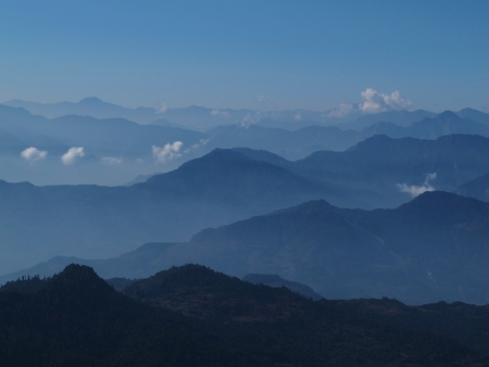 mountain ranges: View of Gorepani, Poon Hill and mountain ranges in Central Nepal
