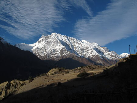 Beautiful morning in the Himalayas, Annapurna Range Stock Photo
