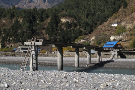Improvised river crossing, Khanti, Nepal photo