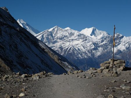 destination scenics: Scenery on the way from Thorung La pass to Muktinath Stock Photo