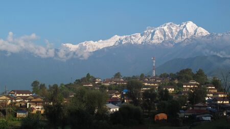 snow capped: Sunrise in Ghalegaun, snow capped Annapurna Range