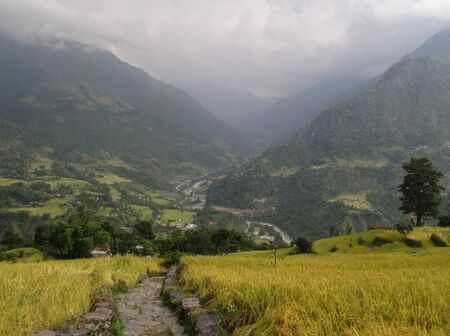 Foot-path to Khudi, Annapurna Conservation Area, Nepal photo