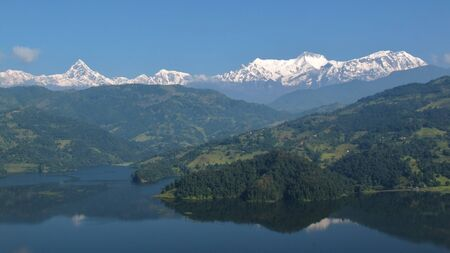 tal: Beautiful Annapurna Range, view from lake Begnas Tal