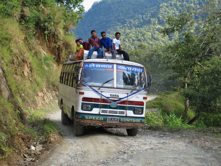 Overloaded bus in Nepal