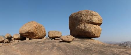 Beautiful big granite boulder in Hampi, India photo