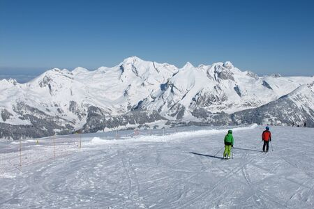 Skier in the ski area Toggenburg, Mt  Saentis photo