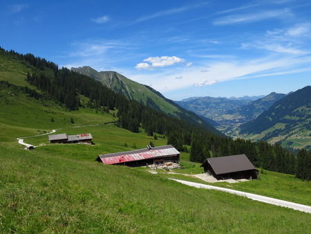 gstaad: Farm houses and distant view of Gstaad