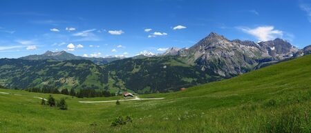 Spitzhorn and other mountains near Gstaad in the summer