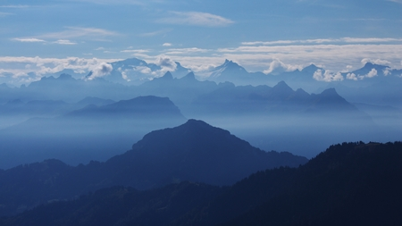 mountain ranges: View from the Rigi, backlit mountain ranges Stock Photo