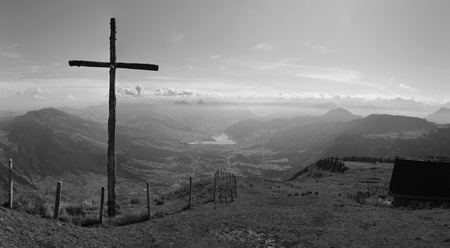 View from the Rigi and summit cross photo