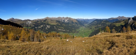 bernese oberland: Panoramic view of the Saanenland, region in the Bernese Oberland Stock Photo