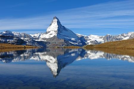 mirroring: Matterhorn mirroring in lake Stellisee