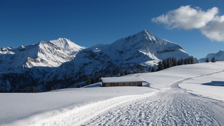 spitzhorn: Wildhorn and Spitzhorn in winter, mountains and ski slope