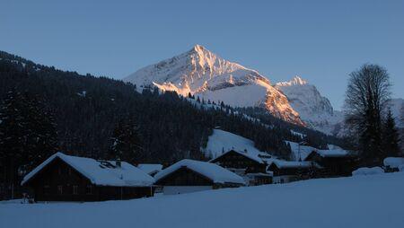 gstaad: Evening in Feutersoey, village near Gstaad