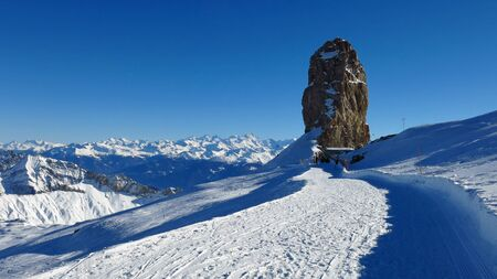 saanenland: Quille du Diable, famous rock on the glacier de Diablerets