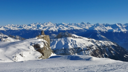 saanenland: Quille du Diable, view from glacier de Diablerets towards Valais Canton Stock Photo