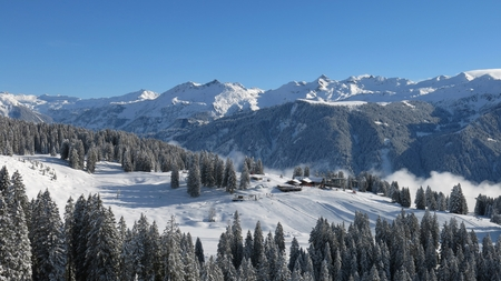 Ski Area: View of the ski area Braunwald, Glarus Canton