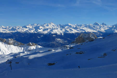 saanenland: Distant view of the Matterhorn, Weisshorn and other high mountains