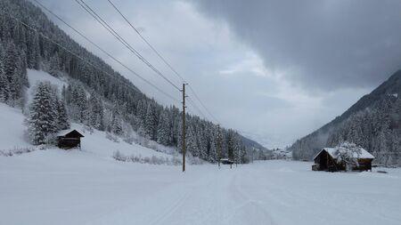 saanenland: Onset of winter in Feutersoey, village near Gstaad