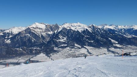 sargans: Winter landscape and ski slope of the ski area Pizol Stock Photo