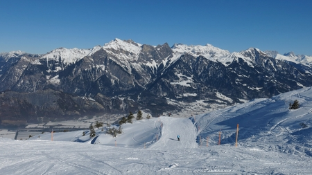 sargans: Ski slope and high mountains, view from Pizol