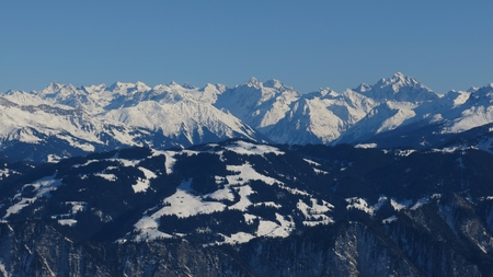 sargans: View from Pizol towards Graubuenden Canton, Piz Buin and other high mountains
