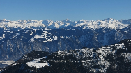 sargans: High mountains in Graubuenden Canton, view from Pizol Stock Photo