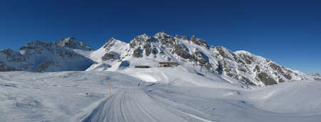 sargans: Summit station in the Pizol ski area, mountains and ski slope