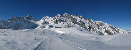 sargans: Summit station in the Pizol ski area, mountains and ski slope
