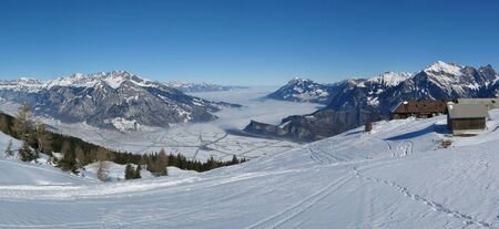 sargans: View from the Pizol ski area towards Sargans