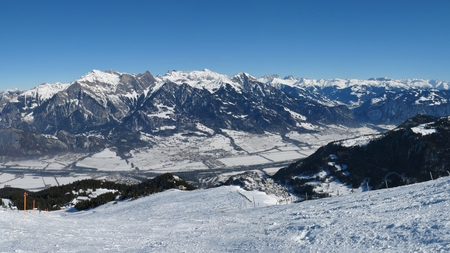 sargans: Beautiful view from the Pizol ski area, Swiss Alps Stock Photo