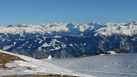 Ski Area: Snow covered mountains, view from the Pizol ski area