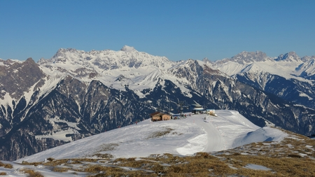 sargans: Summit station of a chair lift in the Pizol ski area Stock Photo