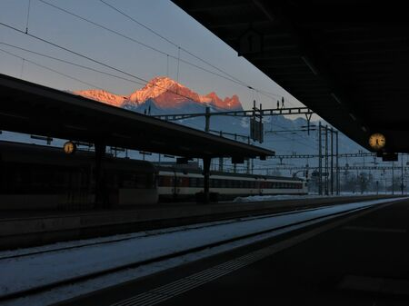sargans: Evening scene at the train station in Sargans
