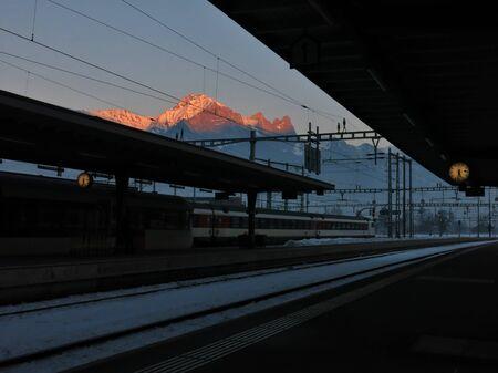sargans: Evening scene at the train station in Sargans