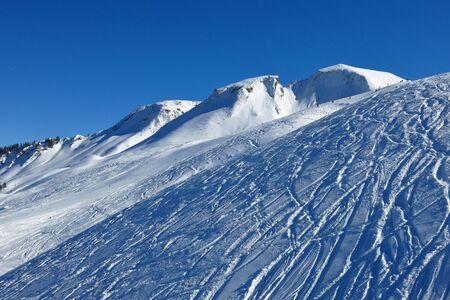 Winter landscape in Stoos, ski area photo