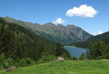 gstaad: Landscape near Gstaad, lake Arnensee Stock Photo