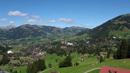 gstaad: Famous village and holiday resort Gstaad in summer