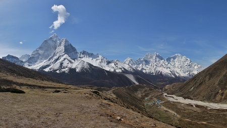 snow capped: Pheriche and snow capped Ama Dablam Stock Photo