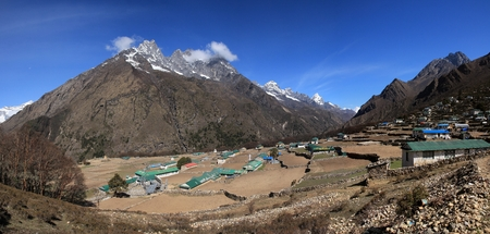 sherpa: Phortse beautiful Sherpa village in the Everest Region Editorial