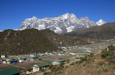 sherpa: Khumjung Sherpa village in the Everest National Park Editorial