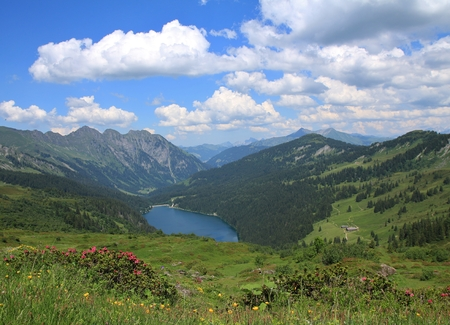 canton berne: Green meadows, lake Arnensee and summer clouds