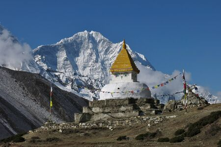 snow capped mountain: Stupa and snow capped mountain Thamserku